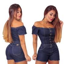 Summer Dark Blue Off Shoulder Enger Jeans-Strampler