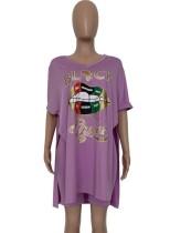 Conjunto de verão camisa longa de fenda de impressão de lábio e shorts de motociclista