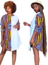 Vestido camisero con cuello o estampado africano de verano
