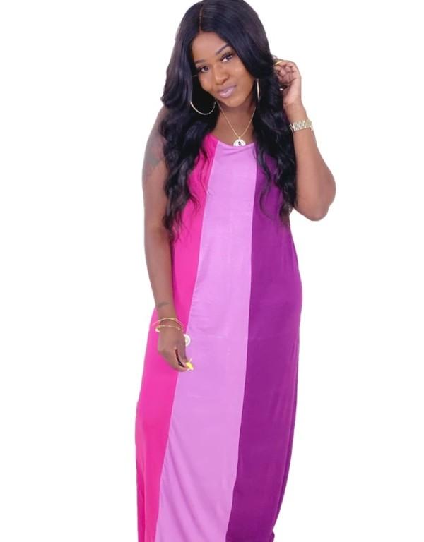 Sommer ärmelloses Kontrast langes Kleid