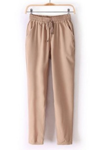 Summer Casual Drawstring Plain Trouser