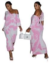 Yazlık Batik Bağcıklı Uzun Elbise