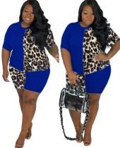 Conjunto de pantalones cortos de leopardo de dos piezas de talla grande