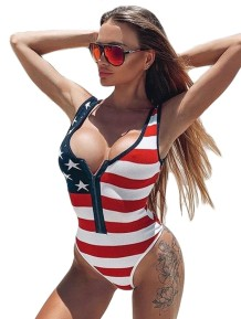 Sexy Flag Print One Piece Zipper Bikini