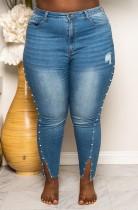 Plus Size High Waist Perlen Slit Fit Jeans