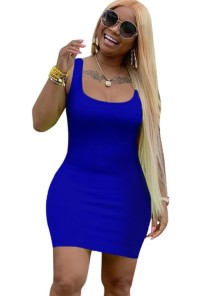 Solid Color Fit O-Neck Tank Dress