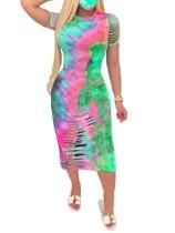 Summer Tie Dye Ripped Midi Dress