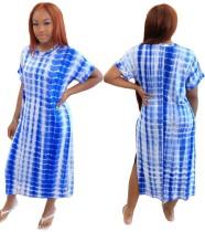 Summer Tie Dye Slit Langes Kleid