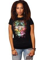 Camisa de verano con estampado animal y cuello redondo