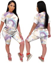 Summer Tie Dye Zweiteiliges Biker Shorts Set