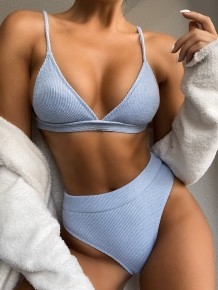 Two Piece Solid Color Simple High Waist Swimwear