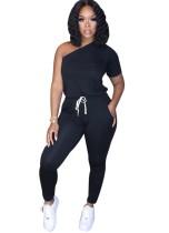 Solid Color One Shoulder Drawstring Jumpsuit