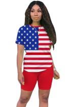 Conjunto de camisa y pantalón corto biker con estampado de bandera de verano