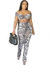 Conjunto de top y pantalones sexy con estampado de cebra