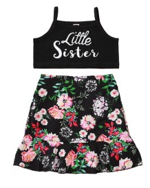 Kids Girl Summer Print Two Piece Skirt Set