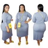 Plus Size manga comprida com cordão vestido casual