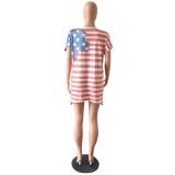 Camisa o-cuello estampada con bandera de verano