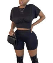 Summer Solid Color Sexy Crop Top and Shorts Set