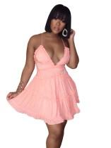 Сплошной цвет оборками платье Холтер Skater
