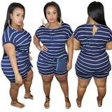 Plus Size Striped Summer Strampler