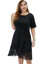 Plus Size Summer Black Wickelkleid