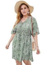 Plus Size Sommer-Blumenkleid mit V-Ausschnitt