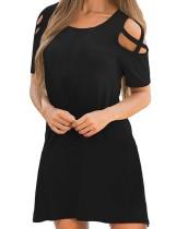 Vestido camisero con cuello en o negro y corte verano