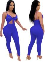 Sexy effen kleur bodycon jumpsuit met knoop