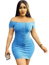 Plus Size Blue Denim Off Shoulder Minikleid