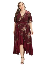 Plus Size Summer Floral Wrapped Long Dress