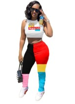 Top corto estampado sexy y pantalones apilados de colores