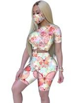 Conjunto de pantalones cortos de dos piezas Summer Butterfly con cubierta facial
