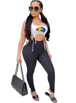 Sexy jumpsuit met contrasterende print en touwtjes