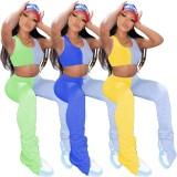 Sommer Sexy Kontrast zweiteilige gestapelte Hosen Set