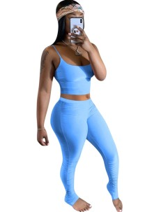 Summer Plain Color Zweiteiliges Sexy Stacked Legging Set