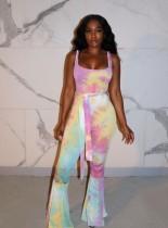 Sexy Tie Dye Wide Straps Flare Jumpsuit mit Gürtel