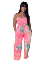 Tie Dye Sexy Straps Wide Legges Overall