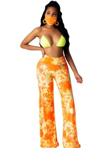 Summer Tie Dye Loose Pants with Matching Face Cover