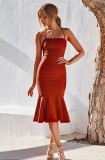 Vestido de fiesta de sirena con correa de color sólido sexy