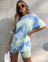 Summer Tie Dye Two Piece Leisure Shorts Set