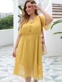 Plus Size Sommer Gelbes Chiffon Langes Kleid