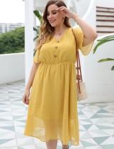 Vestido largo de gasa amarillo de verano de talla grande