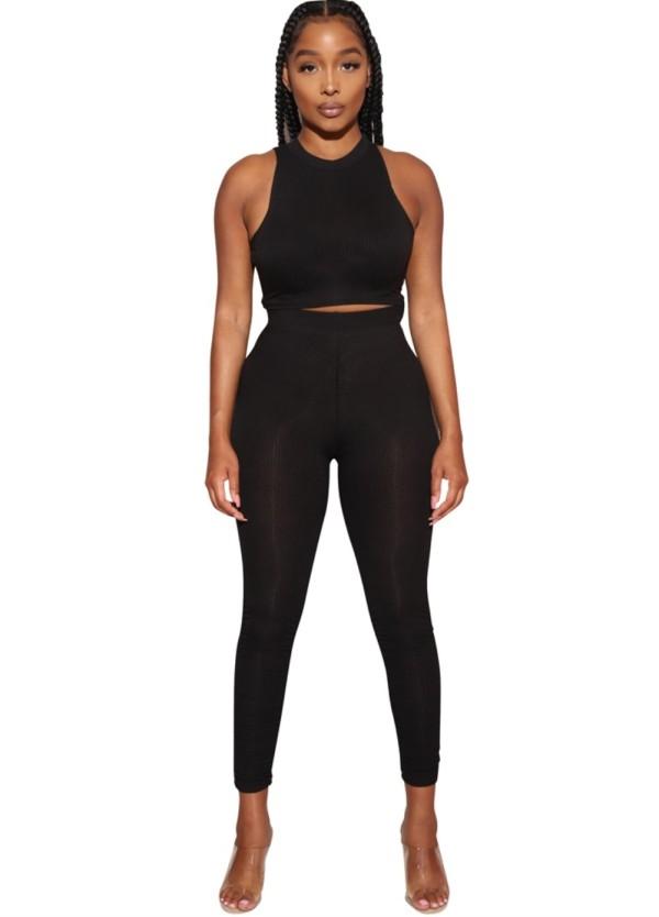 Summer Sports Black Crop Top y Legging Set