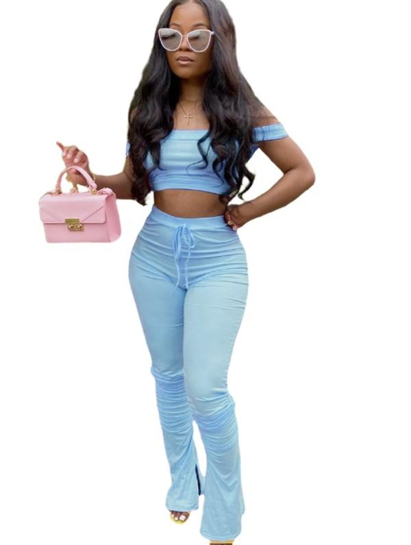 Conjunto de top corto y pantalones apilados de color sólido sexy