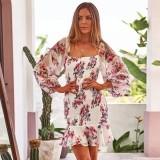 Vestido de fiesta de sirena cuadrado floral de verano con mangas pop