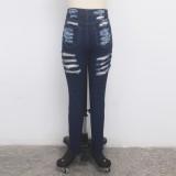 Sexy Jeans mit hoher Taille und beschädigten Jeans