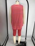 Conjunto de camiseta sin mangas a rayas y pantalones cortos lisos de talla grande