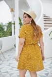 Plus Size Sommer Herzdruck V-Ausschnitt Skater Kleid
