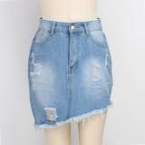 Minifalda de mezclilla irregular de cintura alta sexy
