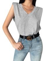 Camisa gris sin mangas con cuello en V de verano